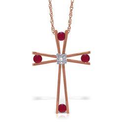Genuine 0.53 ctw Ruby & Diamond Necklace Jewelry 14KT Rose Gold - REF-79A4K