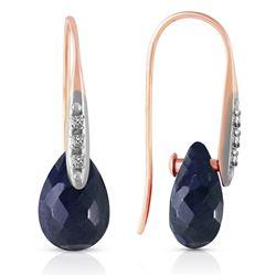 Genuine 8.06 ctw Sapphire & Diamond Earrings Jewelry 14KT Rose Gold - REF-60T3A