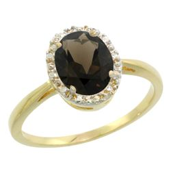Natural 1.22 ctw Smoky-topaz & Diamond Engagement Ring 14K Yellow Gold - REF-27M2H