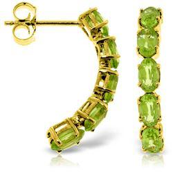 Genuine 2.5 ctw Peridot Earrings Jewelry 14KT Yellow Gold - REF-37M4T