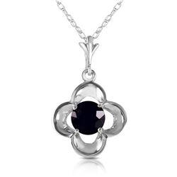 Genuine 0.50 ctw Black Diamond Necklace Jewelry 14KT White Gold - REF-51N5R