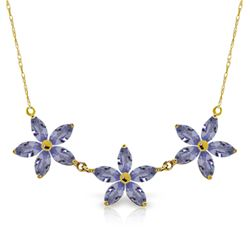 Genuine 4 ctw Tanzanite Necklace Jewelry 14KT Yellow Gold - REF-86N3R
