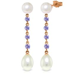 Genuine 11 ctw Pearl & Tanzanite Earrings Jewelry 14KT Rose Gold - REF-34R3P