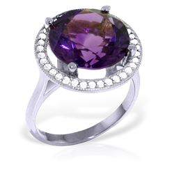 Genuine 6.2 ctw Amethyst & Diamond Ring Jewelry 14KT White Gold - REF-91R4P