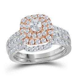 1.2 CTW Diamond Double Halo Rose-tone Bridal Engagement Ring 14KT White Gold - REF-112N5F