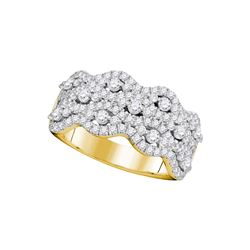1.13 CTW Pave-set Diamond Strand Cocktail Ring 14KT Yellow Gold - REF-104K9W
