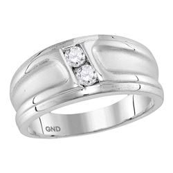 0.33 CTW Diamond 2-stone Channel-set Wedding Ring 10KT White Gold - REF-63W2K