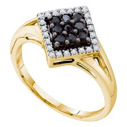 0.20 CTW Black Color Diamond Square Cluster Ring 14KT Yellow Gold - REF-22H4M