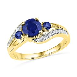 1.1 CTW Created Blue Sapphire 3-stone Diamond Ring 10KT Yellow Gold - REF-24M2H