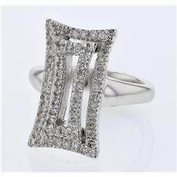 0.69 CTW Diamond Ring 18K White Gold - REF-122H5M