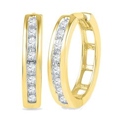 0.20 CTW Diamond Hoop Earrings 10KT Yellow Gold - REF-24M2H