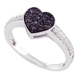 0.33 CTW Black Color Diamond Heart Cluster Ring 10KT White Gold - REF-25K4W