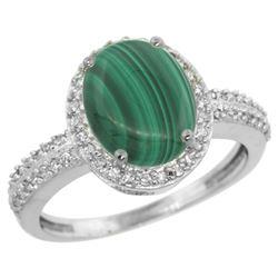 Natural 2.56 ctw Malachite & Diamond Engagement Ring 14K White Gold - REF-39F7N