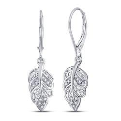 0.06 CTW Diamond Dangle Leaf Leaves Wire Earrings 10KT White Gold - REF-18N2F