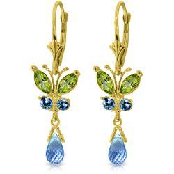 Genuine 2.74 ctw Peridot & Blue Topaz Earrings Jewelry 14KT Yellow Gold - REF-42R6P