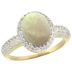 Natural 2.56 ctw Opal & Diamond Engagement Ring 10K Yellow Gold - REF-32K4R