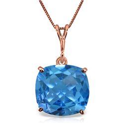 Genuine 3.6 ctw Blue Topaz Necklace Jewelry 14KT Rose Gold - REF-28K9V