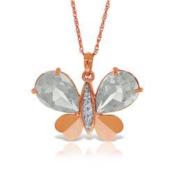 Genuine 11.10 ctw White Topaz & Diamond Necklace Jewelry 14KT Rose Gold - REF-130X2M