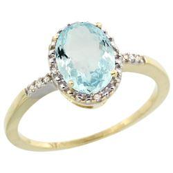 Natural 1.03 ctw Aquamarine & Diamond Engagement Ring 10K Yellow Gold - REF-20Y5X