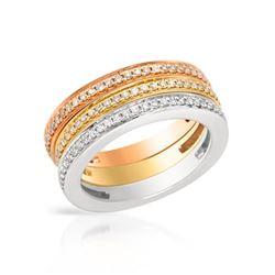 0.79 CTW Diamond Band Ring 14K Tri-Color Gold - REF-86R2K