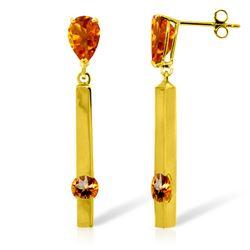 Genuine 4.25 ctw Citrine Earrings Jewelry 14KT Yellow Gold - REF-54Z6N