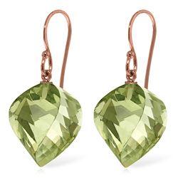 Genuine 26 ctw Green Amethyst Earrings Jewelry 14KT Rose Gold - REF-42M2T