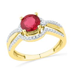 2.08 CTW Created Ruby Solitaire Ring 10KT Yellow Gold - REF-33W8K