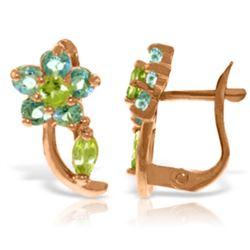 Genuine 1.72 ctw Blue Topaz & Peridot Earrings Jewelry 14KT Rose Gold - REF-40K5V