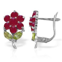 Genuine 2.12 ctw Peridot & Ruby Earrings Jewelry 14KT White Gold - REF-42Y7F