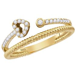 0.15 CTW Diamond Heart Bisected Stackable Ring 10KT Yellow Gold - REF-20W9K