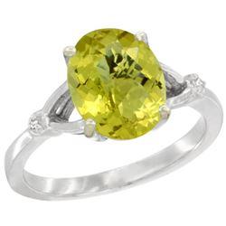 Natural 2.41 ctw Lemon-quartz & Diamond Engagement Ring 14K White Gold - REF-33G3M
