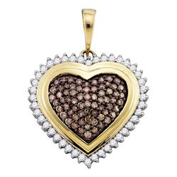 1 CTW Cognac-brown Color Diamond Framed Heart Pendant 10KT Yellow Gold - REF-67H4M