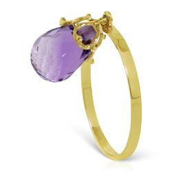 Genuine 3 ctw Amethyst Ring Jewelry 14KT Yellow Gold - REF-22N5R