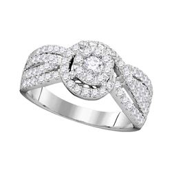0.97 CTW Diamond Solitaire Bridal Engagement Ring 14KT White Gold - REF-104W9K