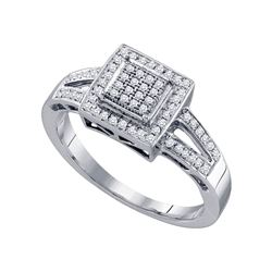 0.20 CTW Diamond Square Cluster Bridal Engagement Ring 10KT White Gold - REF-30F2N
