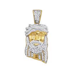 0.40 CTW Mens Diamond Jesus Head Pendant 10KT Yellow Gold - REF-34F4N