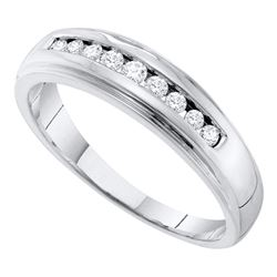 0.25 CTW Mens Channel-set Diamond 5mm Wedding Ring 10KT White Gold - REF-31X4Y