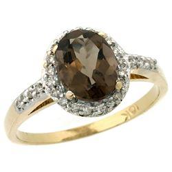 Natural 1.3 ctw Smoky-topaz & Diamond Engagement Ring 10K Yellow Gold - REF-25G9M