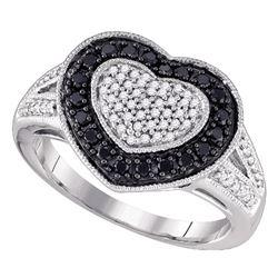 0.51 CTW Black Color Diamond Heart Ring 10KT White Gold - REF-41K9W