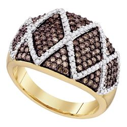 1 CTW Brown Color Diamond Fashion Ring 10KT Yellow Gold - REF-59Y9X