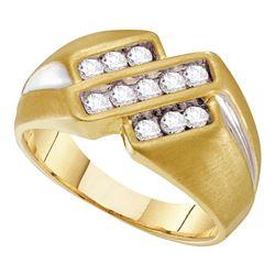 0.50 CTW Mens Channel-set Diamond Triple Row Ring 10KT Yellow Two-tone Gold - REF-52W4K
