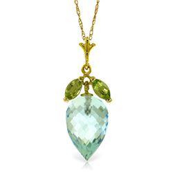 Genuine 11.75 ctw Blue Topaz & Peridot Necklace Jewelry 14KT Yellow Gold - REF-37F2Z