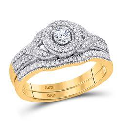 0.38 CTW Diamond Bridal Wedding Engagement Ring 10KT Yellow Gold - REF-52K4W