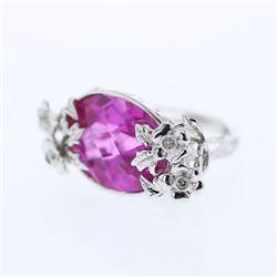 22.61 CTW Pink Sapphire & Diamond Ring 14K White Gold - REF-52W9H