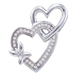 0.10 CTW Diamond Double Linked Heart Butterfly Pendant 10KT White Gold - REF-16M4H