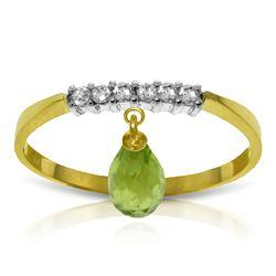 Genuine 1.45 ctw Peridot & Diamond Ring Jewelry 14KT Yellow Gold - REF-34M3T