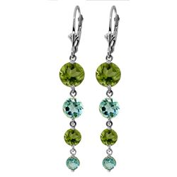 Genuine 7.8 ctw Blue Topaz & Peridot Earrings Jewelry 14KT White Gold - REF-46T3A