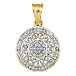 0.15 CTW Diamond Circle Pendant 10KT Yellow Gold - REF-14X9Y