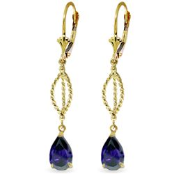Genuine 3 ctw Sapphire Earrings Jewelry 14KT Yellow Gold - REF-53T6A