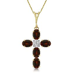 Genuine 1.88 ctw Garnet & Diamond Necklace Jewelry 14KT Yellow Gold - REF-39H8X